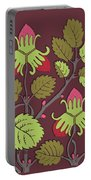 Colorful Botanical Hand Drawn Strawberry Bush Isolated On Vinous Portable Battery Charger