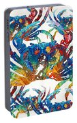 Colorful Crab Collage Art By Sharon Cummings Portable Battery Charger