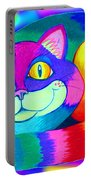Colorful Crazy Cat Portable Battery Charger