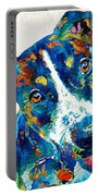 Colorful Dog Art - Happy Go Lucky - By Sharon Cummings Portable Battery Charger