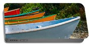 Colorful Fishing Boats On A Rocky Shore  Grand Manan Portable Battery Charger