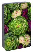 Colorful Green, White And Purple Flowers Painting Portable Battery Charger