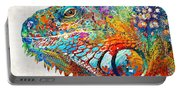 Colorful Iguana Art - One Cool Dude - Sharon Cummings Portable Battery Charger
