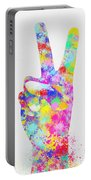 Colorful Painting Of Hand Point Two Finger Portable Battery Charger
