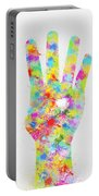 Colorful Painting Of Hand Pointing Four Finger Portable Battery Charger