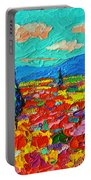 Colorful Poppies Field Abstract Landscape Impressionist Palette Knife Painting By Ana Maria Edulescu Portable Battery Charger