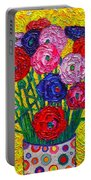 Colorful Ranunculus Flowers In Polka Dots Vase Palette Knife Oil Painting By Ana Maria Edulescu Portable Battery Charger