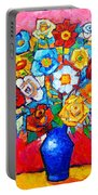 Colorful Roses And Camellias - Abstract Bouquet Of Flowers Portable Battery Charger