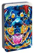Colorful Rottie Art - Rottweiler By Sharon Cummings Portable Battery Charger