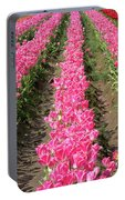 Colorful Rows Of Tulips Portable Battery Charger