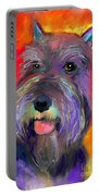 Colorful Schnauzer Dog Portrait Print Portable Battery Charger