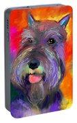 Colorful Schnauzer Dog Portrait Print Portable Battery Charger