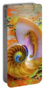 Colorful Seahorse And Nautilus Shell Portable Battery Charger