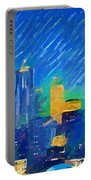 Colorful Seattle Skyline Panorama Portable Battery Charger