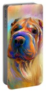 Colorful Shar Pei Dog Portrait Painting  Portable Battery Charger by Svetlana Novikova