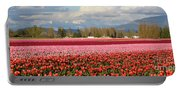 Colorful Skagit Valley Tulip Fields Panorama Portable Battery Charger