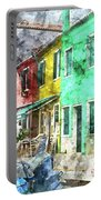 Colorful Street In Burano Near Venice Italy Portable Battery Charger