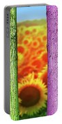Colorfull Tree Trunks In Thefield. Abstract Psychedelic Colors Portable Battery Charger