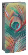 Colors Of The Rainbow Peacock Feather Portable Battery Charger