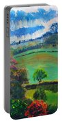 Colourful English Devon Landscape - Early Evening In The Valley Portable Battery Charger