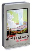 Come To New Zealand Vintage Travel Poster Portable Battery Charger
