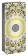 Concrete And Yellow Mandala- Abstract Art By Linda Woods Portable Battery Charger