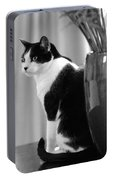 Contemplative Cat Black And White Portable Battery Charger