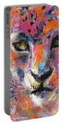 contemporary Wildlife painting cheetah leopard  Portable Battery Charger