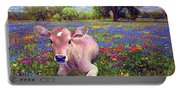 Contented Cow In Colorful Meadow Portable Battery Charger
