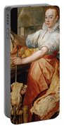 Cook With Chicken. In The Background Christ With Mary And Martha Portable Battery Charger