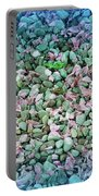 Cool Blue Pink Petals On Stones Portable Battery Charger