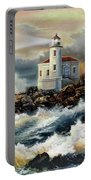 Coquille River Lighthouse At Hightide Portable Battery Charger