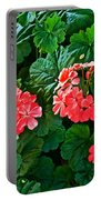 Coral Geraniums At Pilgrim Place In Claremont-california   Portable Battery Charger