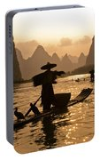 Cormorant Fisherman At Sunset Portable Battery Charger