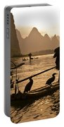 Cormorant Fishermen At Sunset Portable Battery Charger