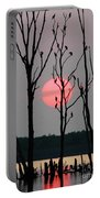 Cormorant Gathering At Sunrise Portable Battery Charger