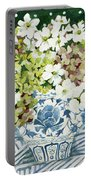 Cosmos And Hydrangeas In A Chinese Vase Portable Battery Charger