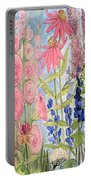 Cottage Flowers With Dragonfly Portable Battery Charger