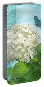 Cottage Garden White Hydrangea With Blue Butterfly Portable Battery Charger