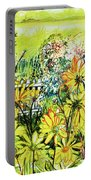 Cottage Gate Seen Through Sun Daisies Portable Battery Charger