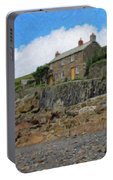 Cottage On Rocks At Port Quin - P4a16009 Portable Battery Charger