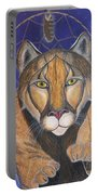 Cougar Medicine With Cobalt Blue Background Portable Battery Charger