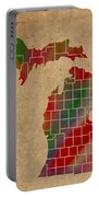 Counties Of Michigan Colorful Vibrant Watercolor State Map On Old Canvas Portable Battery Charger