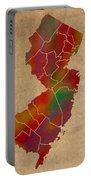 Counties Of New Jersey Colorful Vibrant Watercolor State Map On Old Canvas Portable Battery Charger