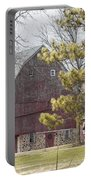 Country Barn With Pine Tree Portable Battery Charger
