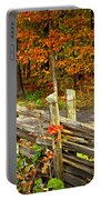Country Road In Autumn Forest Portable Battery Charger