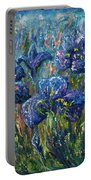 Countryside Irises Oil Painting With Palette Knife Portable Battery Charger