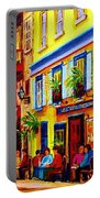 Courtyard Cafes Portable Battery Charger by Carole Spandau