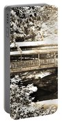 Covered Bridge At Lanterman's Mill Black And White Portable Battery Charger