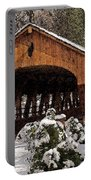 Covered Bridge At Olmsted Falls-winter-2 Portable Battery Charger